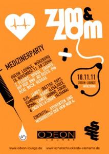 Plakat zur ZIM&ZOM Party im Odeon Würzburg